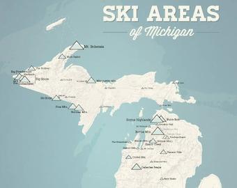 Northeast Ski Resorts Map 24x36 Poster Etsy