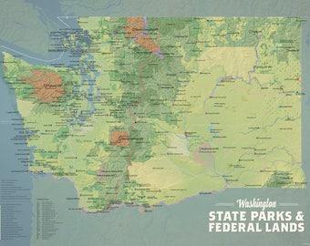 Washington state map | Etsy