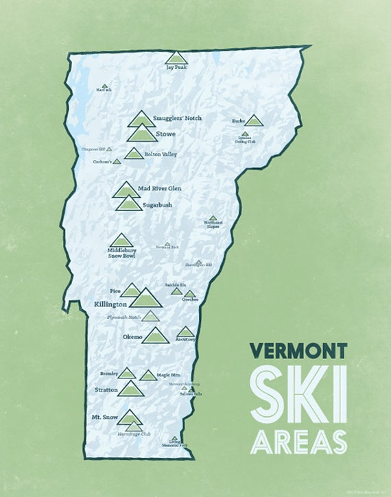 Map Of Georgia Vermont.Vermont Ski Resorts Map 11x14 Print