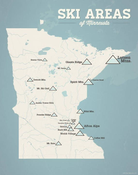 skiing in minnesota map Minnesota Ski Resorts Map 11x14 Print Etsy