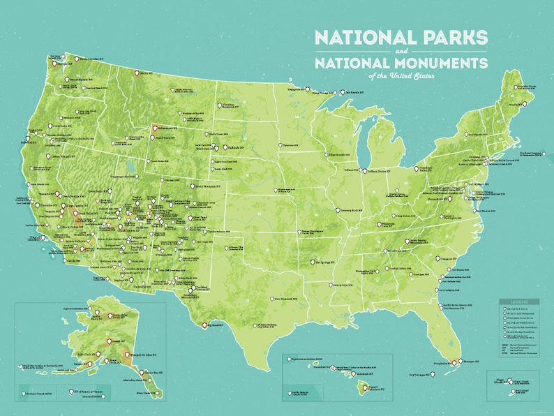 US National Parks & Monuments Map 18x24 Poster | Etsy