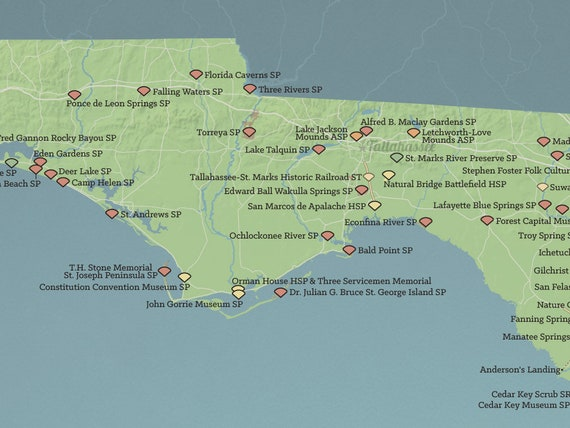 Map Of Florida State Parks.Florida State Parks Map 18x24 Poster Etsy