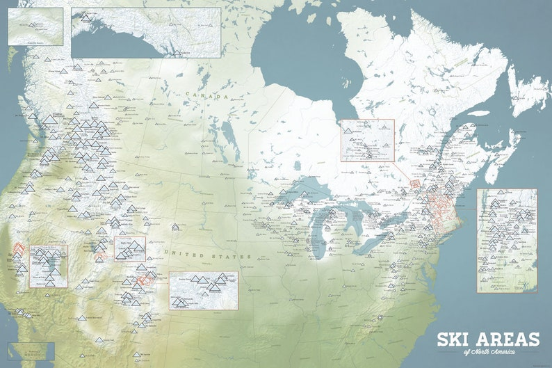 North America Ski Resorts Map 24x36 Poster on map airports in canada, map national parks in canada, map churches in canada, map mountains in canada, map golf courses in canada, map cities in canada, map british columbia,