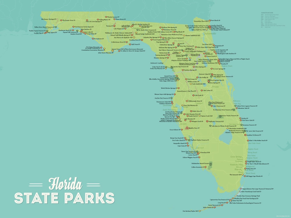 Florida State Parks Map 18x24 Poster