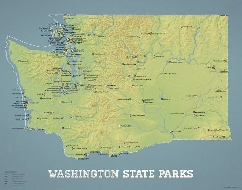picture about Printable Map of Washington State named Washington Nation Parks Map 11x14 Print