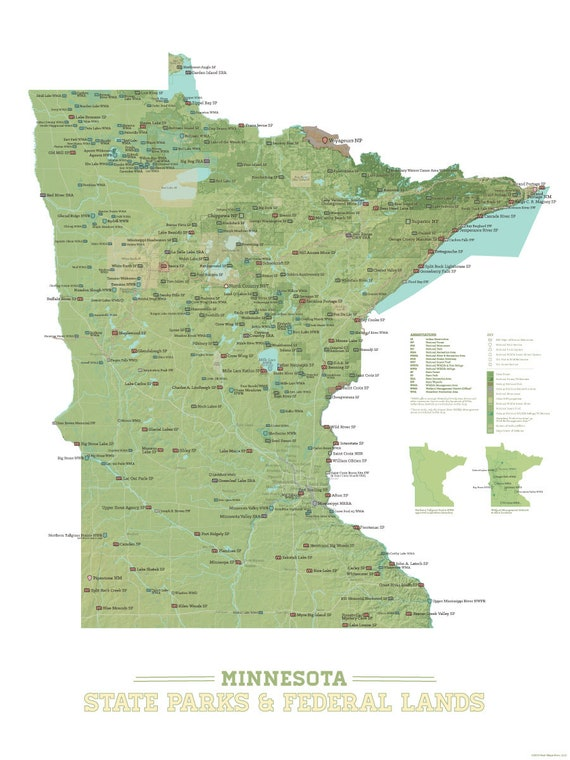 Minnesota State Parks & Federal Lands Map 18x24 Poster