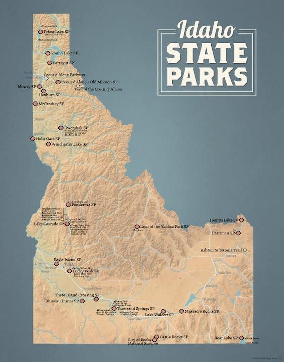 Winchester Idaho Map.Idaho State Parks Map 11x14 Print Etsy