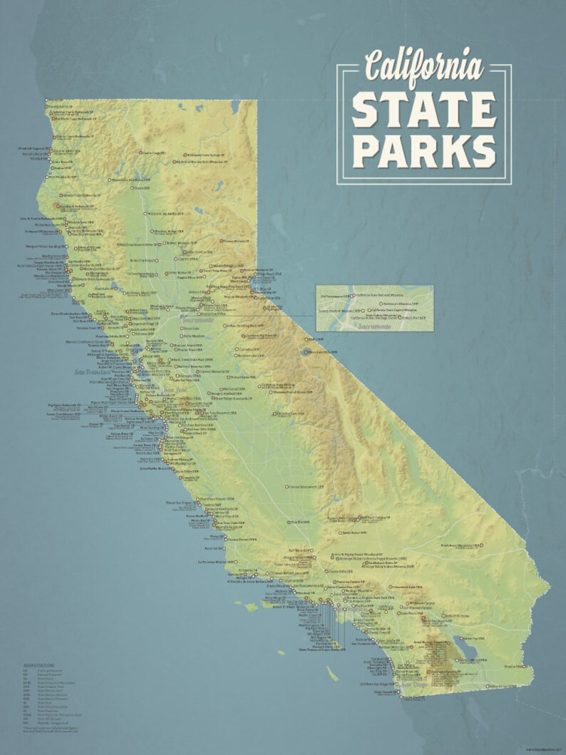 California State Parks Map 18x24 Poster | Etsy on