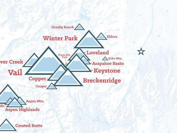 Colorado Ski Resorts Map 18x24 Poster