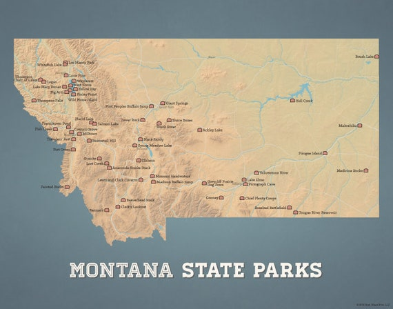 Montana State Parks Map 11x14 Print | Etsy