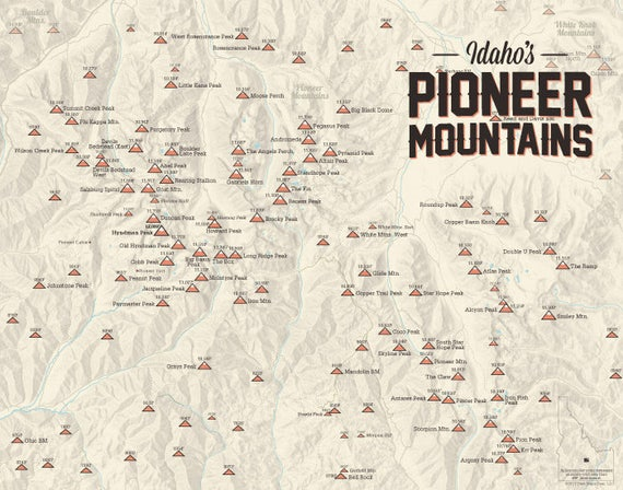Pioneer Mountains Idaho Map.Pioneer Mountains Idaho Climbers Map 11x14 Print Etsy