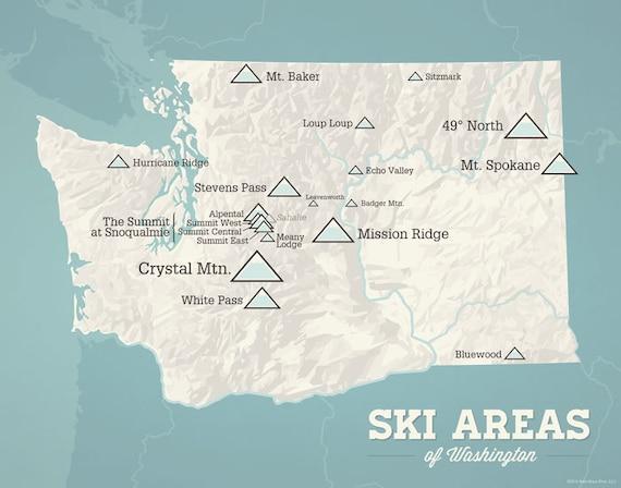 Washington Ski Resorts Map 11x14 Print   Etsy