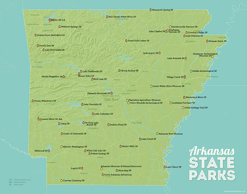 Arkansas State Parks Map 11x14 Print