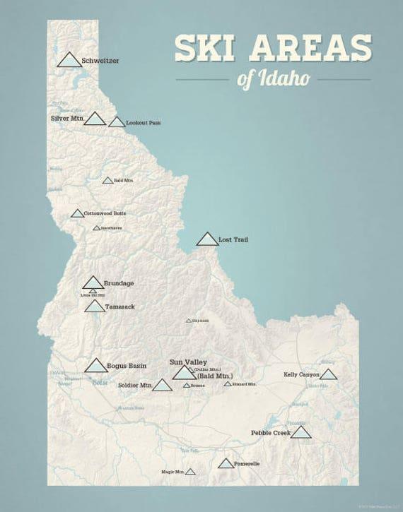 ski areas in idaho map Idaho Ski Resorts Map 11x14 Print Etsy