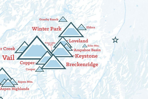 Colorado Ski Resorts Map 11x14 Print