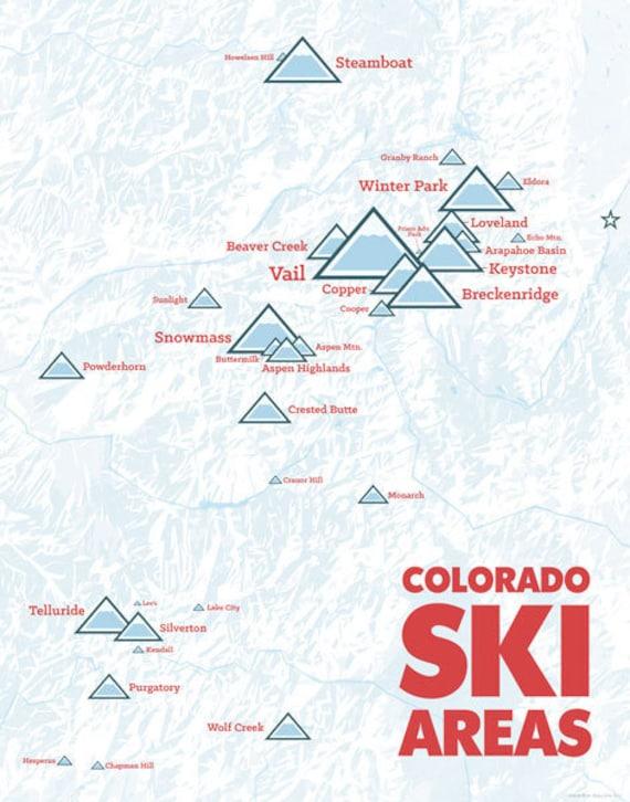 ski areas in colorado map Colorado Ski Resorts Map 11x14 Print Etsy