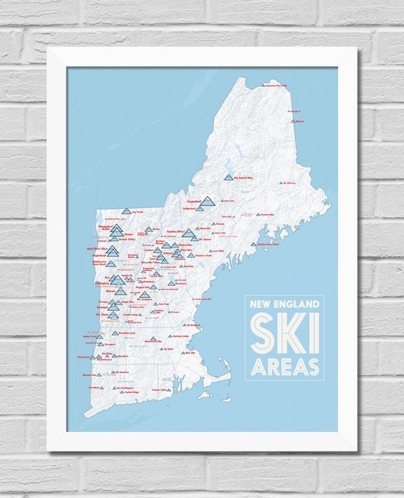 Skiing New England Map.New England Ski Resorts Map Framed 18x24 Poster Etsy