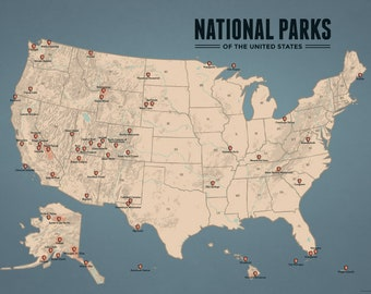 US National Parks Map 18x24 Poster