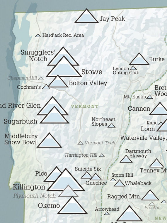 Skiing New England Map.New England Ski Resorts Map 18x24 Poster Etsy