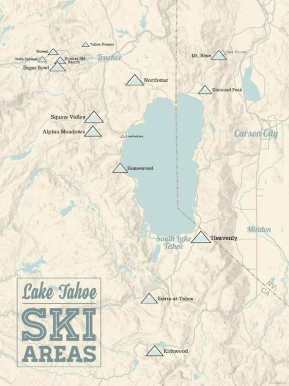 lake tahoe resorts map Lake Tahoe Ski Resorts Map 18x24 Poster Etsy lake tahoe resorts map