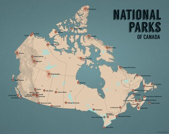 Canada National Parks Map 11x14 Print