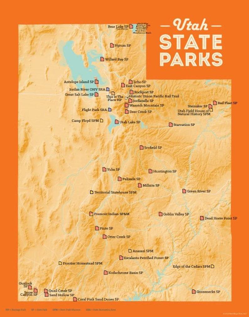 Utah State Parks Karte 11 x 14 Druck | Etsy on
