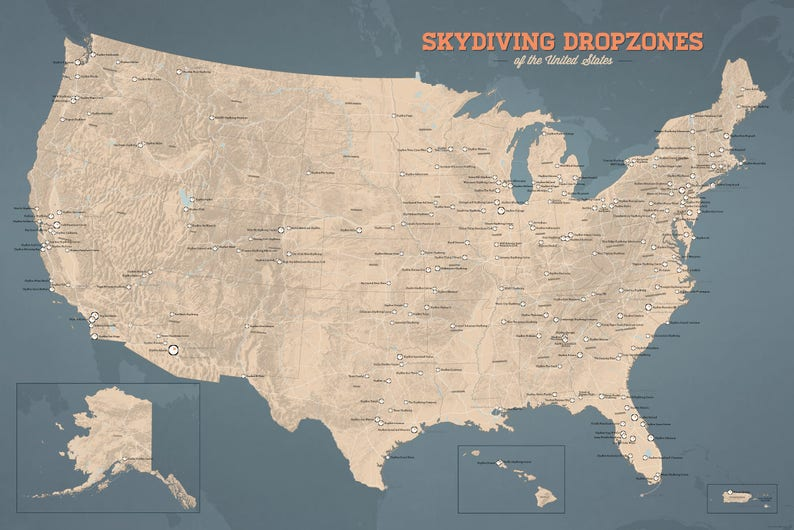 US Skydiving Dropzones Map 24x36 Poster | Etsy