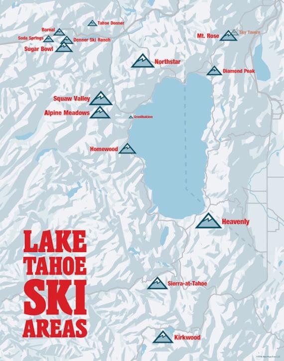 map of lake tahoe ski resorts Lake Tahoe Ski Resorts Map 11x14 Print Etsy map of lake tahoe ski resorts