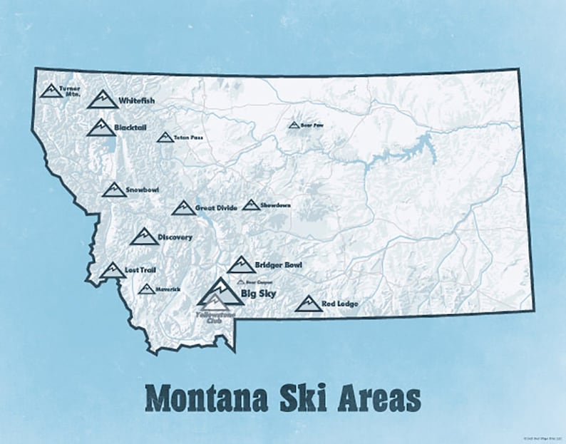 Montana Ski Resorts Map 11x14 Print Etsy