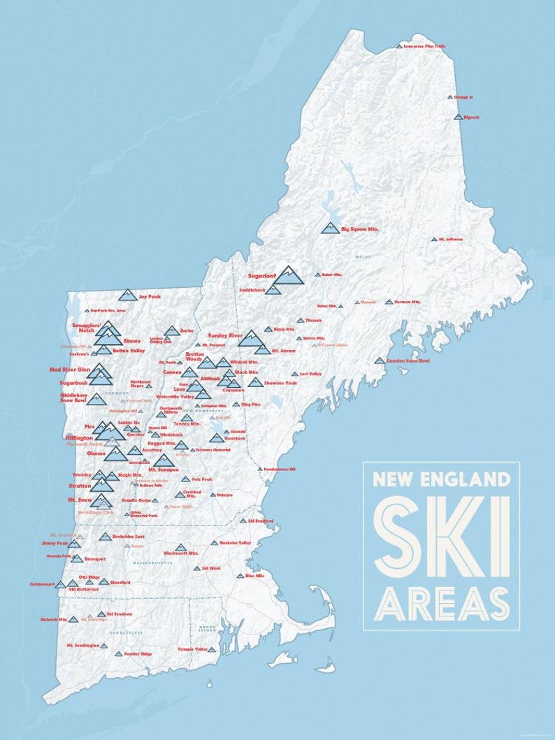 New England Ski Resorts Map 18x24 Poster | Etsy