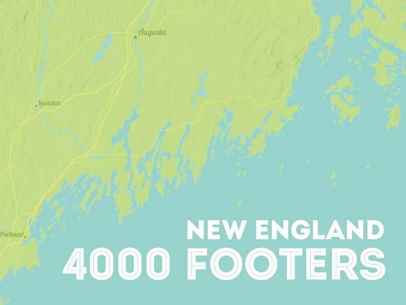 Map Of New England 4000 Footers.New England 4000 Footers Map 18x24 Poster Etsy