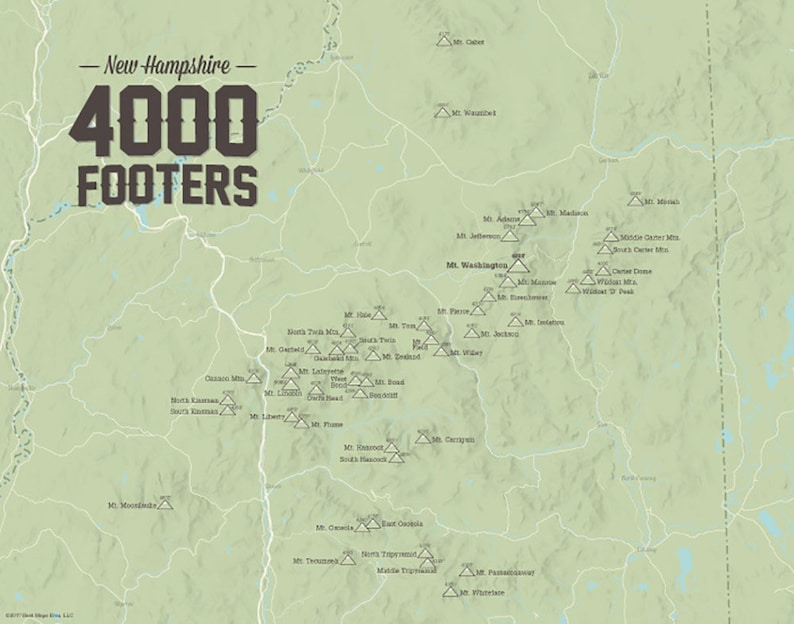 Map Of New England 4000 Footers.New Hampshire 4000 Footers Map 11x14 Print Etsy