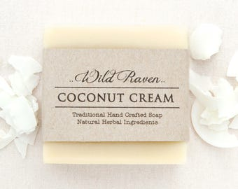 Coconut Cream Soap // Handmade with All Natural Herbal Ingredients // Traditional Cold Process Soap // Unscented, Vegan & Palm Oil Free