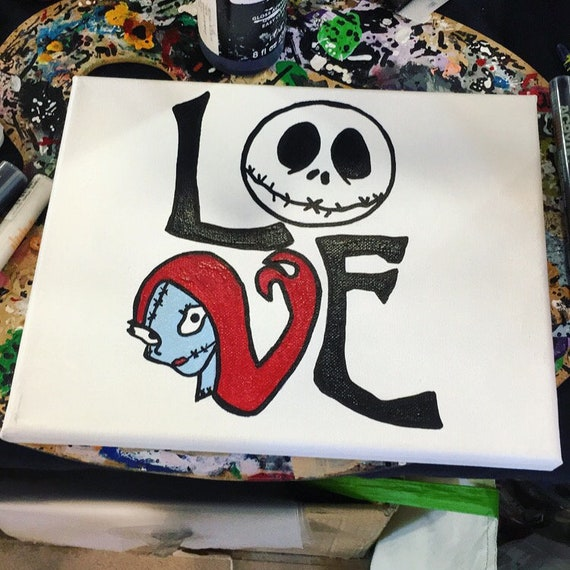 Jack Skellington Sally Pumpkin King Nightmare Before Christmas Disney Art Canvas Painting Acrylic