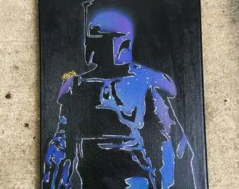 Star Wars Boba Fett Galaxy Painting Canvas Acrylic Art Empire Strikes Back