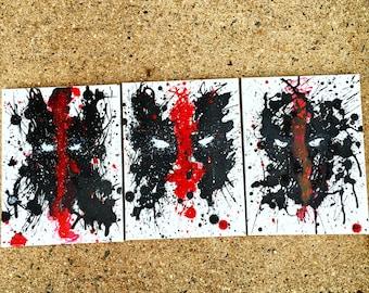 Marvel Comics Deadpool Wade Wilson Merc with a Mouth Canvas Art Acrylic Spray Splatter Paint Painting
