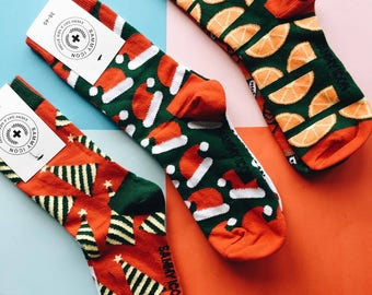 Koleda Christmas Socks Set in Three Mismatched Pairs, Santa Socks, Orange Socks, Red Socks, Winter Socks, Party Socks, Celebration Socks