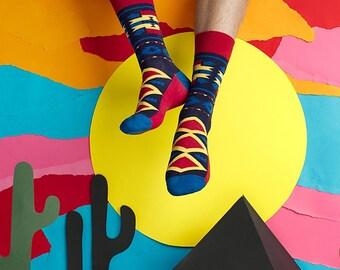 Men's Socks Mexico, Maroon Blue Men's Socks, Men's Socks with Geometrical Pattern, Men Socks, Women Socks, Husband Socks, Socks for Men