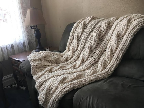 Knitting Pattern Chunky Cable Knit Blanket Cable Knit Etsy