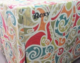 Personalized Cotton Dog Crate Cover (8oz Cotton Canvas) - Machine Washable