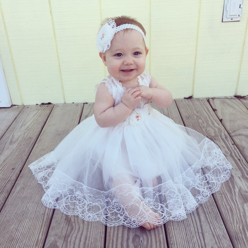 b7f54ba35 Flower girls dresswhite flower girl dress Lace flower girl | Etsy