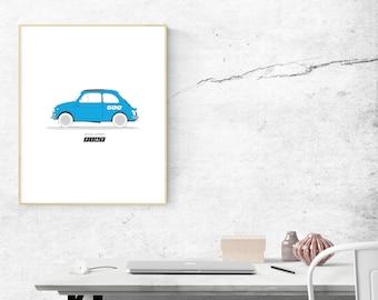 Kids Car Print, Kids Wall Art, Children's Gift, 1963 Fiat 500