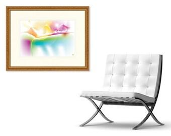 LUX - Abstract Art Print on Canvas - Digital Art - Rainbow Mountains - Fine Art Print - Landscape Print - Decorative Wall Art