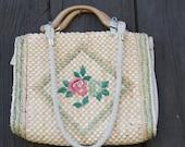 Vintage Handbag 50s Straw...