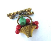 French BROOCH Red and Gre...