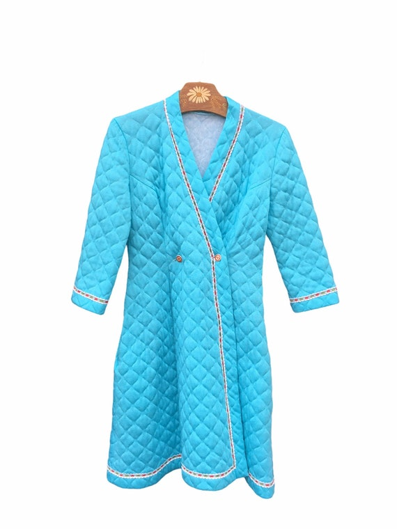 60s DRESSING GOWN QUILTED . Retro Padded Long Nigh