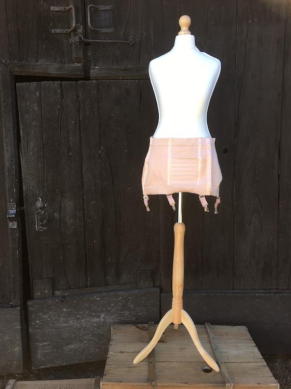 50s GIRDLE CORSET Garter Belt Waist Cincher Pink P