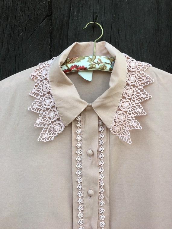 Vintage PRAIRIE BLOUSE Powder Pink Lace Collar