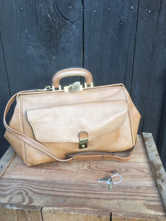 Vintage 60s DOCTORS BAG Leather Retro Travel Lugga