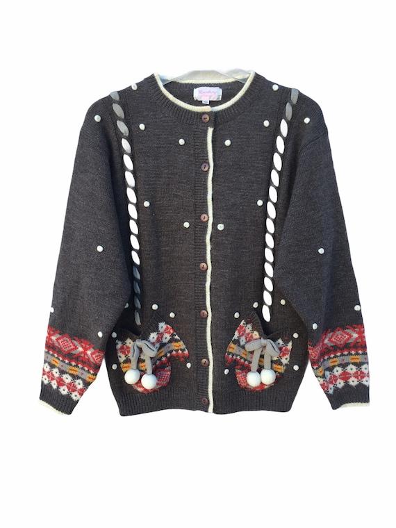 Women's Vintage Christmas Cardigan Wool Jumper